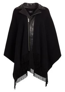 The Kooples Moto Collar Fringed Poncho