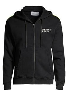 The Kooples Neon Stripe Zip-Up Hoodie