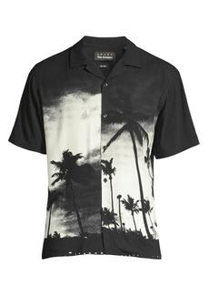 The Kooples Palm Graphic Print V-neck Shirt