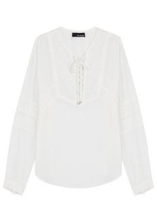 The Kooples Peasant Blouse with Lace Inlay