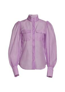 The Kooples Puff-Sleeve Semi-Sheer Blouse