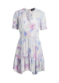 The Kooples Short-Sleeve Printed Frill Handkerchief Dress