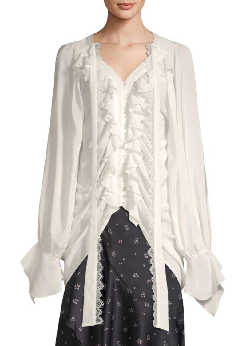 The Kooples Silk Ruffled Shirt