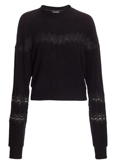 The Kooples Sweet Fleece Lace-Inset Sweater