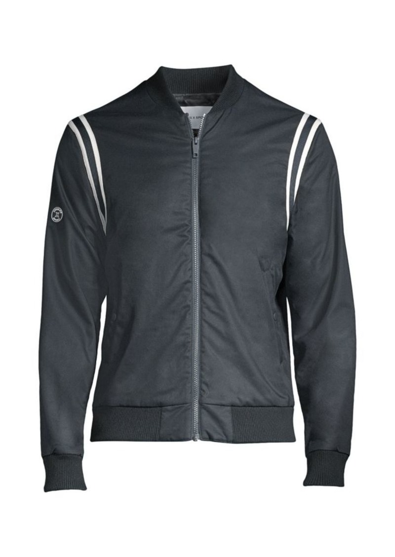 The Kooples Teddy Stripe-Trim Bomber Jacket