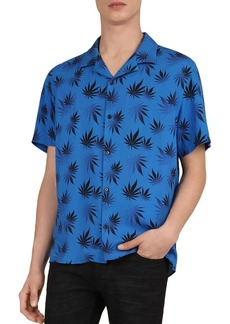 The Kooples Abstract Leaves Slim Fit Polo Shirt