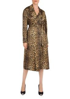 The Kooples Belted Leopard-Print Silk Kimono
