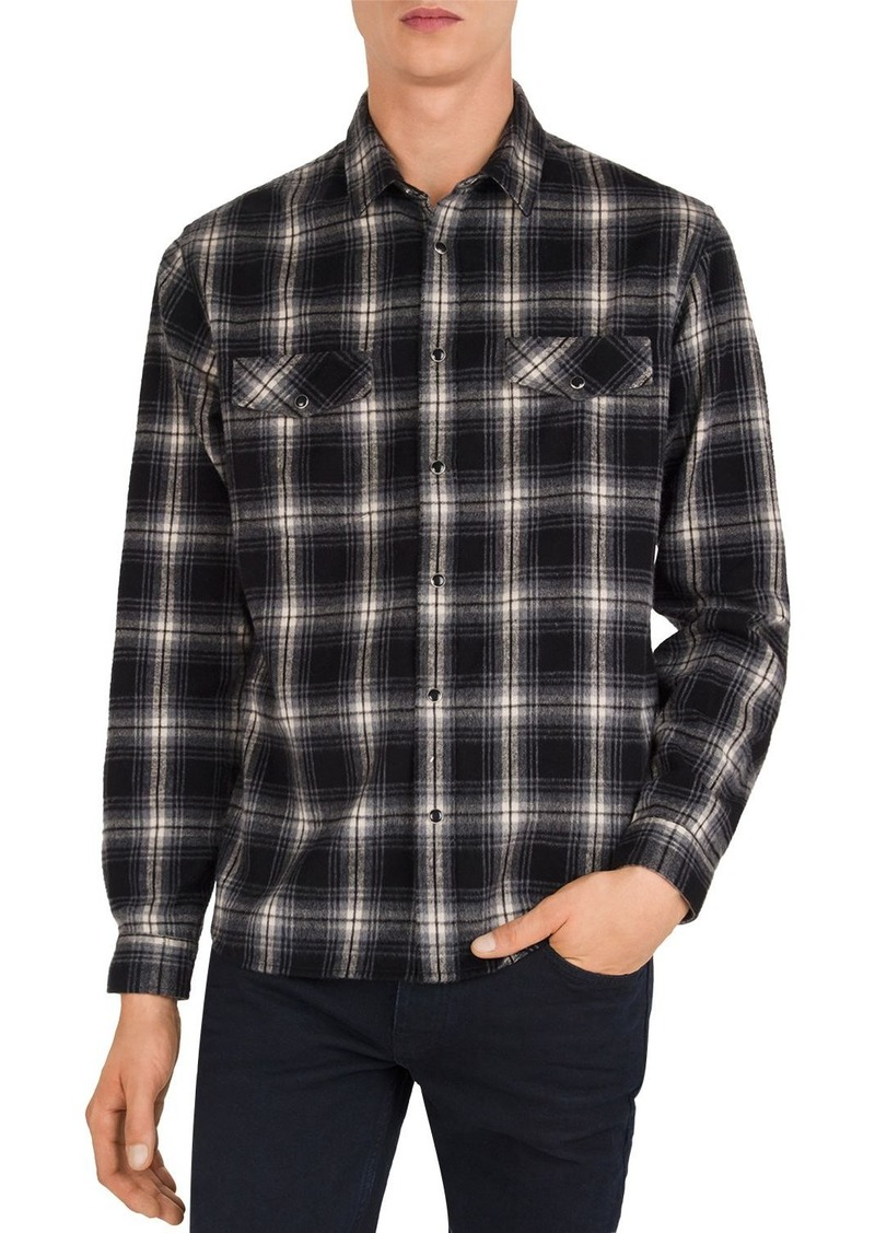 The Kooples Brushed Plaid Slim Fit Button-Down Shirt