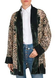 The Kooples Canyon Velvet-Detail Leopard-Print Kimono