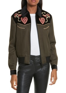 The Kooples Contrast Embroidery Bomber Jacket