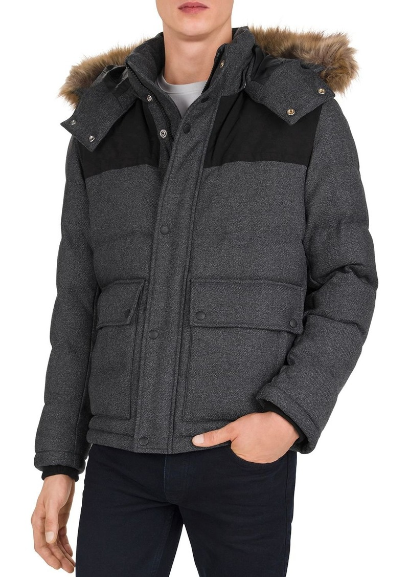 The Kooples Contrast Yoke Puffer Jacket