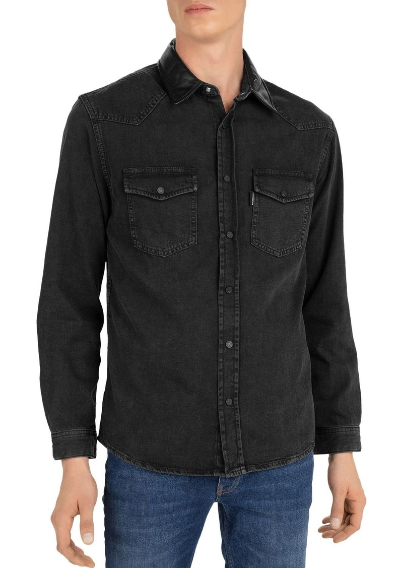 The Kooples Cotton Leather-Collar Shirt