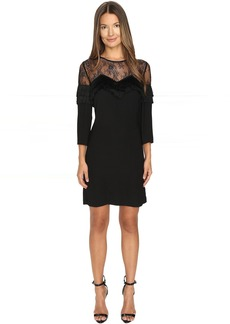The Kooples Crepe Dress with Lace and Fringes
