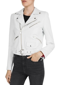 The Kooples Cropped Belted Moto Jacket