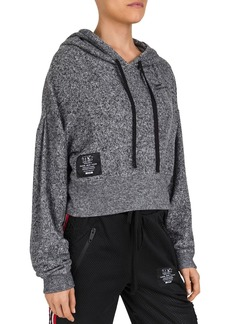 The Kooples Cropped Drawstring Logo Hoodie