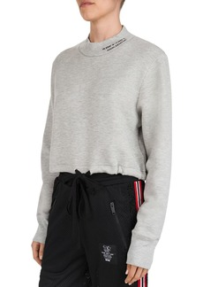 The Kooples Cropped Logo-Detail Drawstring Sweatshirt