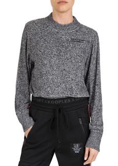 The Kooples Cropped Marled Logo Detail Sweatshirt