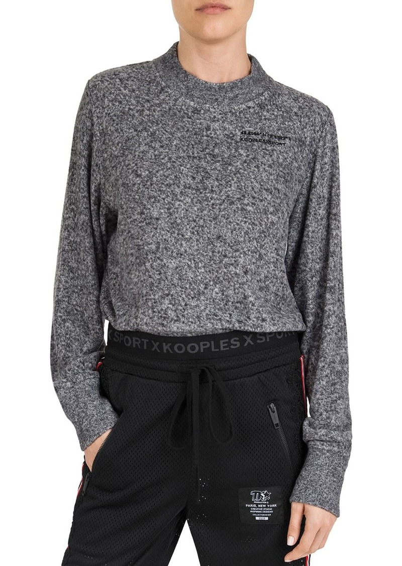 The Kooples Cropped Marled Logo-Detail Sweatshirt