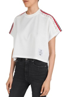The Kooples Cropped, Striped & Lace-Inset Mesh Tee