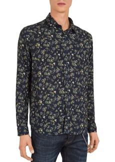 The Kooples Dark Flowers Slim Fit Button-Down Shirt