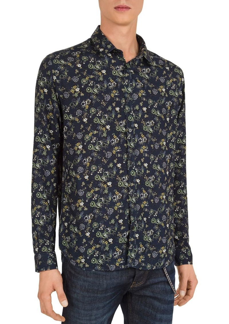 The Kooples Dark Flowers Slim Fit Button-Down Shirt