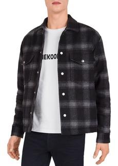 The Kooples Dark Squares Plaid Shirt Jacket