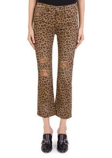 The Kooples Distressed Cropped Jeans in Leopard Chocolate