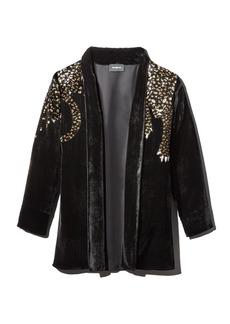 The Kooples Embellished Velvet Leopard-Motif Kimono Jacket