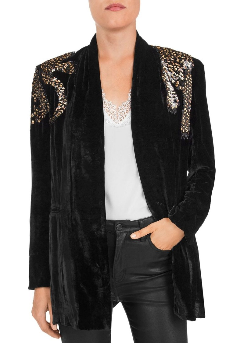 The Kooples Embellished Velvet Leopard-Motif Kimono Jacket