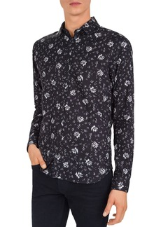 The Kooples Erased Flowers Slim Fit Button-Down Shirt
