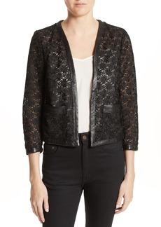 The Kooples Faux Leather Trim Lace Jacket