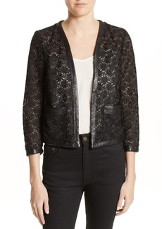 The Kooples Faux Leather Trim Lace Jacket