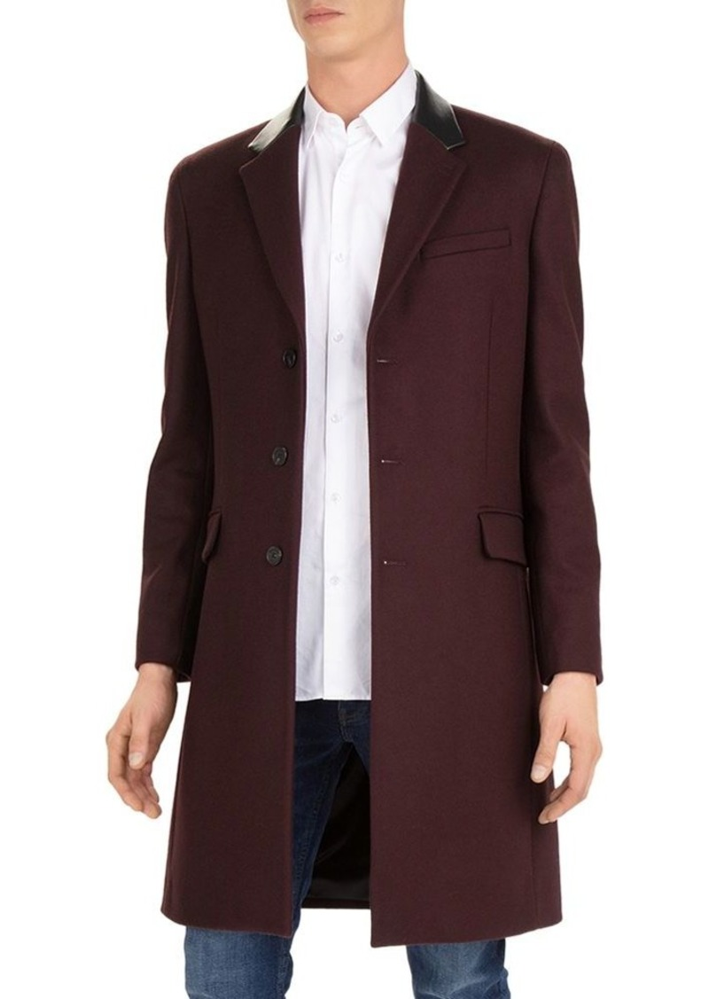 The Kooples Feltro Leather-Collar Top Coat