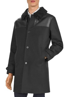 The Kooples Feltro Leather-Trimmed Coat