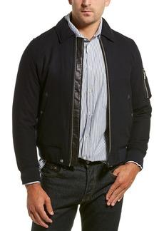 The Kooples Flannel Leather-Trim Wool-Blend Jacket