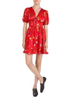 The Kooples Floral-Print Lace-Up Mini Dress