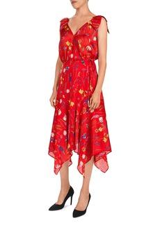 The Kooples Floral-Print Midi Wrap Dress