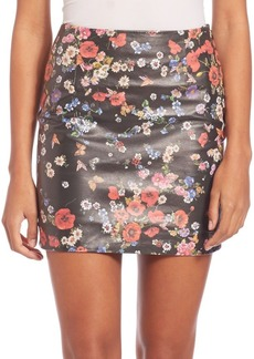 The Kooples Flower Print Leather Skirt