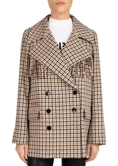 The Kooples Fringed Plaid Double-Breasted Coat