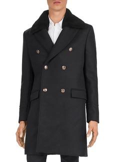 The Kooples Heavy Mix Shearling Collar Coat