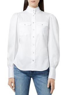The Kooples High Neck Puff Sleeve Blouse