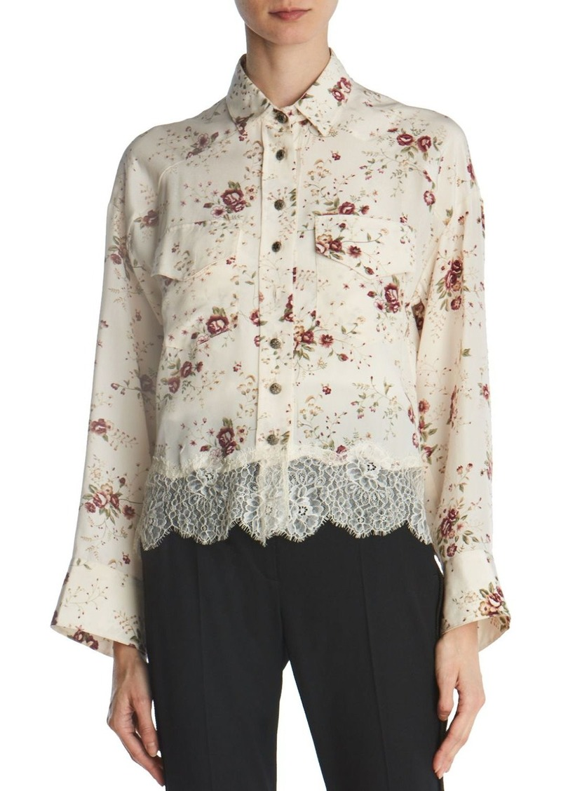 c64313b033 On Sale today! The Kooples The Kooples Lace-Trimmed Floral Silk Shirt