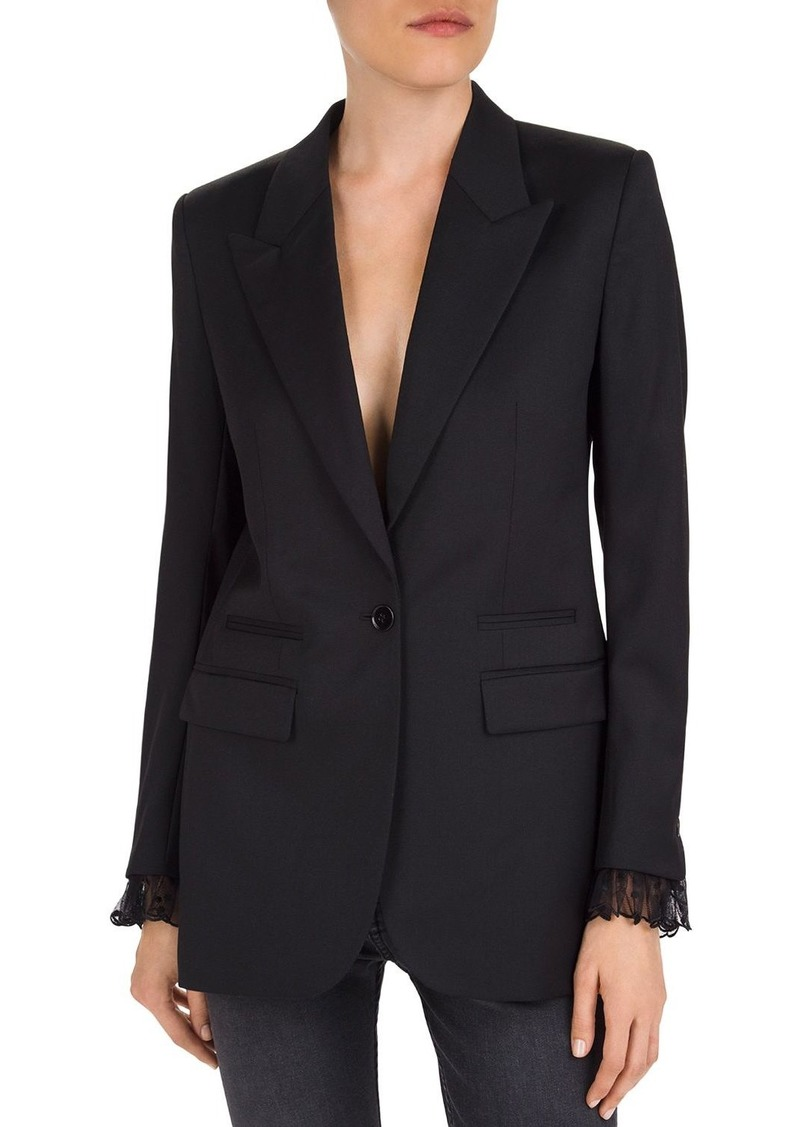 The Kooples Lace-Trimmed Wool Blazer