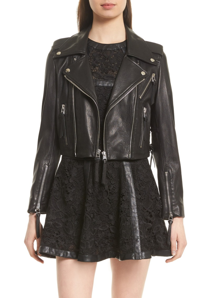 c8049c1cd4 The Kooples The Kooples Lace-Up Lambskin Leather Jacket | Outerwear