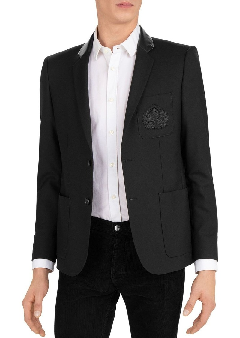 The Kooples Leather-Collar Slim Fit Blazer