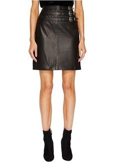 The Kooples Leather Skirt with Buckle Details and Front Slit