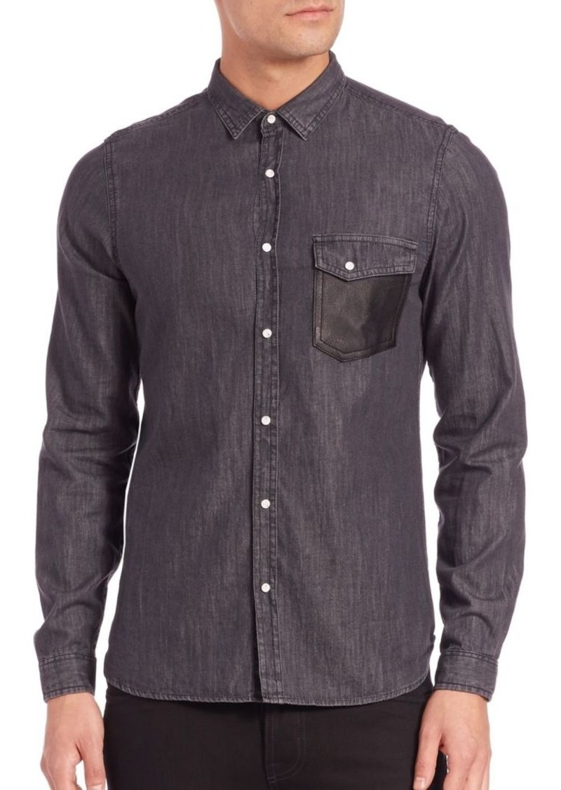 4d1a44ac7f6 The Kooples Leather-Trim Denim Shirt   Casual Shirts