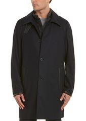 The Kooples Leather-Trim Wool-Blend Coat