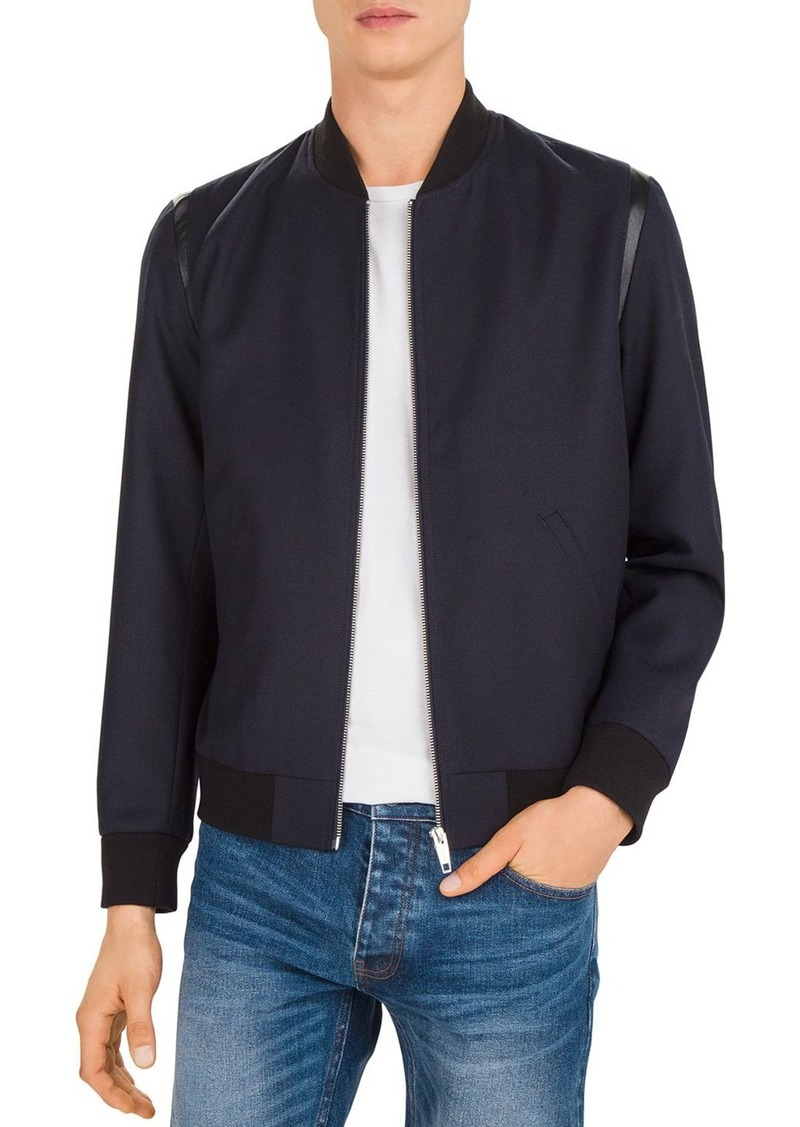 The Kooples Leather-Trimmed Bomber Jacket