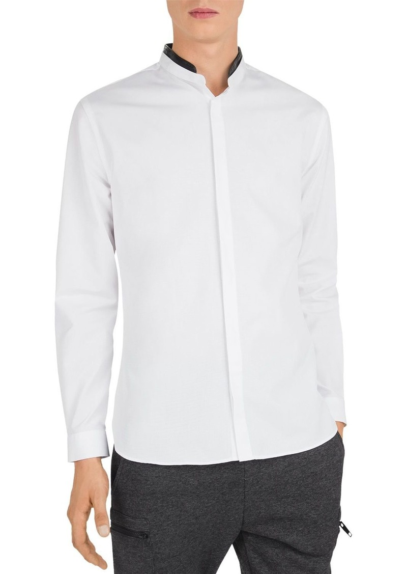The Kooples Leather-Trimmed Slim Fit Button-Down Shirt